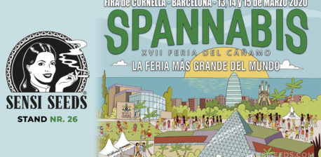 A poster for Spannabis 2020 and the Sensi Seeds logo