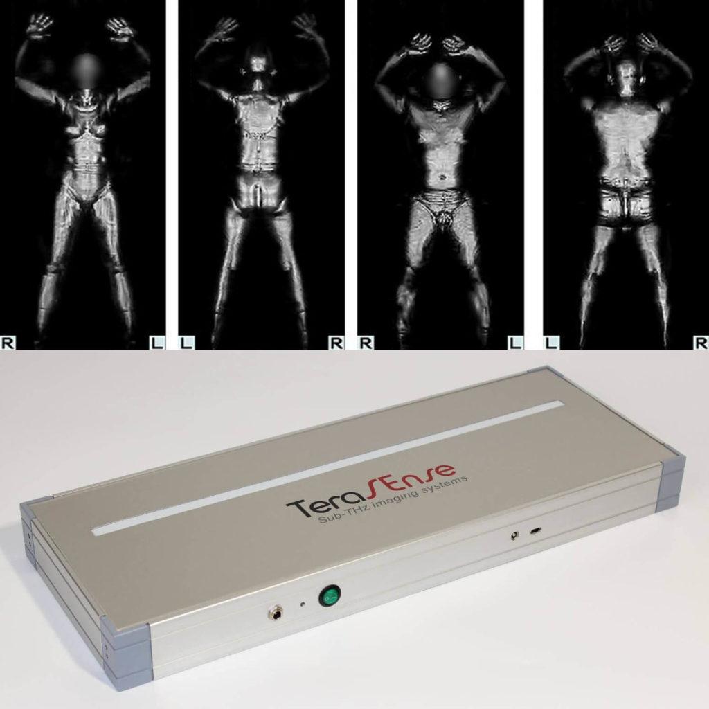 Röntgenstrahlen eines Mannes und einer Frau und eines Terahertz-Strahlungsscanner-Geräts