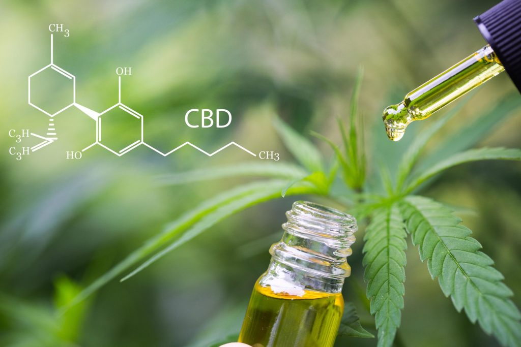 The chemical formula of CBD, a bottle of CBD oil and a cannabis plant