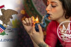La bandera de Illinois y una mujer fumando un tubo de cannabis.
