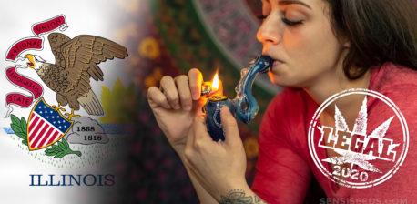 Die Illinois-Flagge und eine Frau, die eine Cannabis-Pfeife raucht