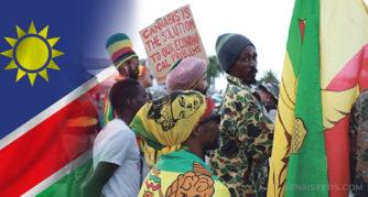 Le drapeau namibien et une protestation pour la légalisation du cannabis