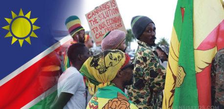 Die namibische Flagge und ein Protest für Cannabis-Legalisierung
