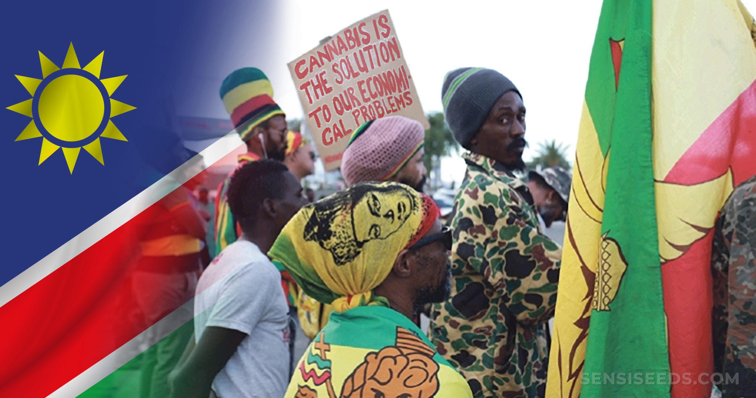 La bandera de Namibia y una protesta por la legalización de cannabis.