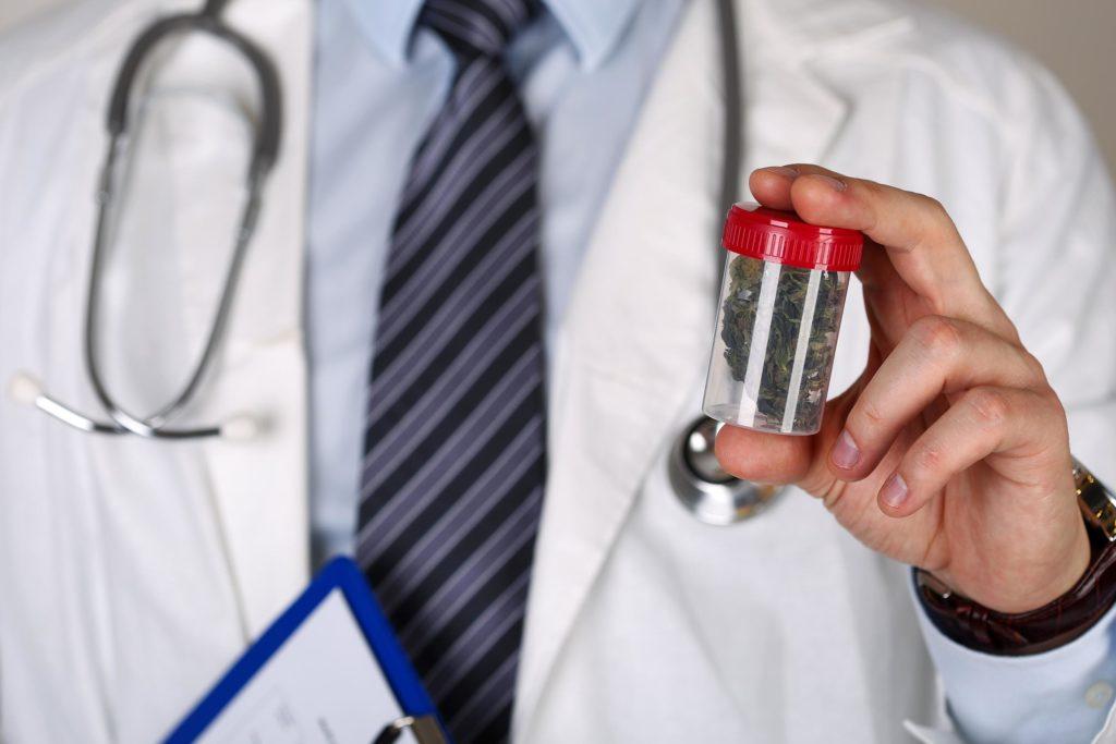 Un médecin avec un stéthoscope autour de son cou tenant une casserole en plastique de cannabis