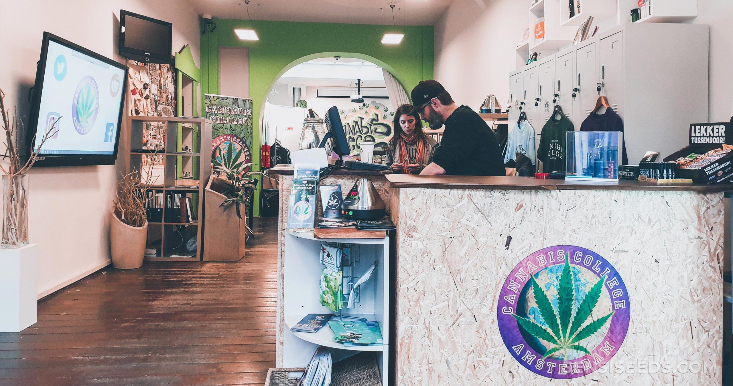 Das Innere von Amsterdams Cannabis College