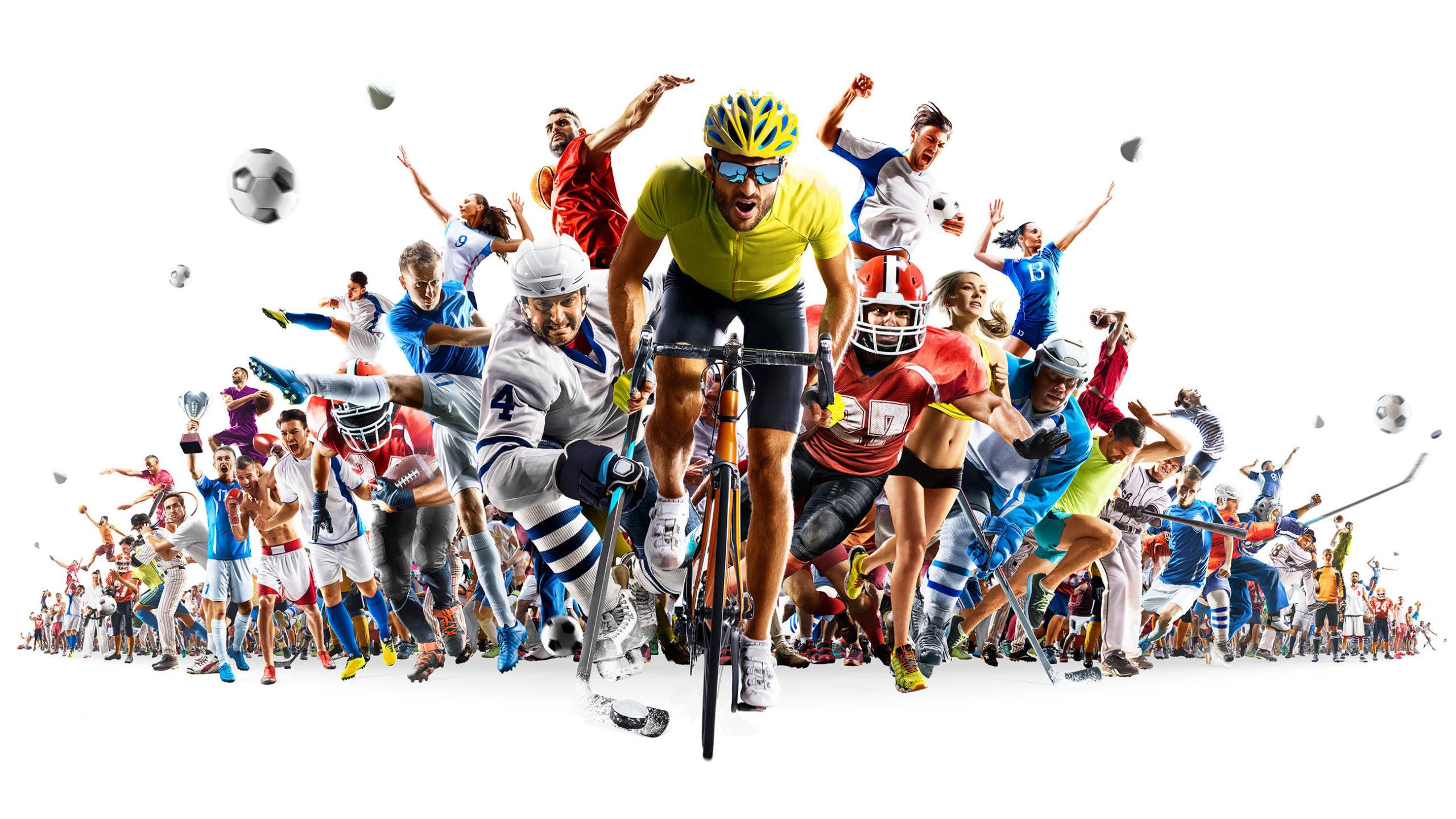 Eine Menge von verschiedenen Athleten mit einem Radfahrer an der Vorderseite