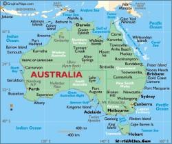 Landkarte von Australien, auf der die Bundesstaaten und Territorien sowie ihre wichtigsten Städte zu sehen sind (CC. Nathan Hughes Hamilton)