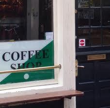 Coffeeshop license sticker in Amsterdam