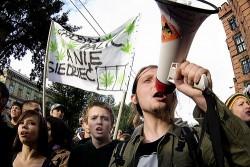A cannabis legalization march in Warsaw, Poland