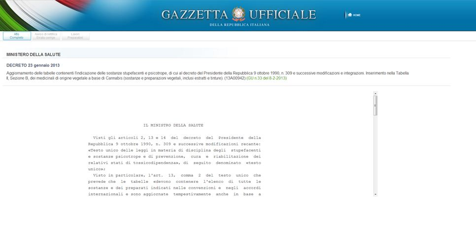 The publication on the Italian Official Journal