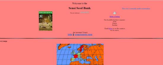 Sensi Seeds website, 1996