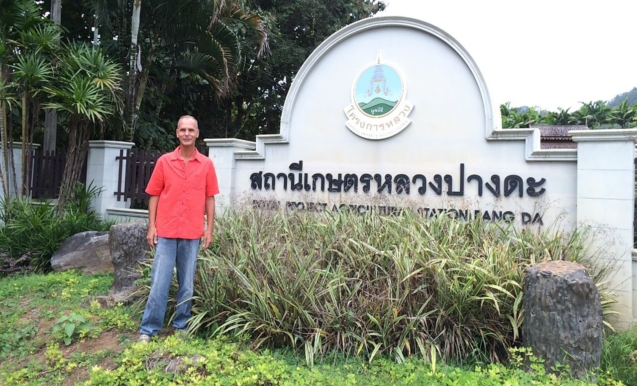 Alan Dronkers in front the Thai Royal Institute for Agriculture
