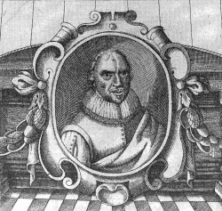 Portrait of John Taylor, in many ways a pioneer in his time, (gravure produced by Thomas Cockson for Taylor's volume of poetry published in 1630)