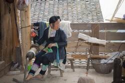 Una hilandera en la provincia de Guizhou, China, enrollando fibra de cáñamo para convertirla en hilo (Minneapolis Institute of Arts)