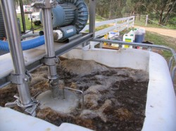 Professional compost tea-making equipment, including an aeration device (Milkwooders)