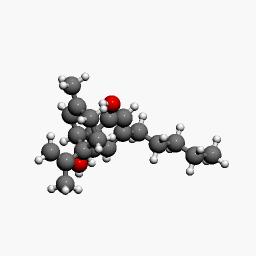 Modelo de una molécula de cannabidiol en 3-D