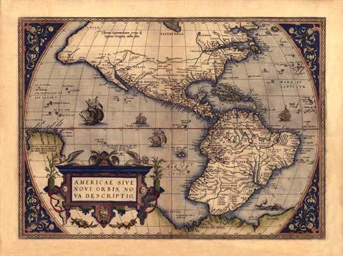 Une carte ancienne d'Amérique.