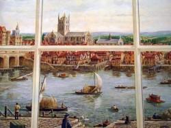 Au XVIIe siècle, des bateliers devaient transporter les passagers d'une rive à l'autre de la Tamise puisqu'il n'existait à l'époque que le Pont de Londres (CC. DncnH)