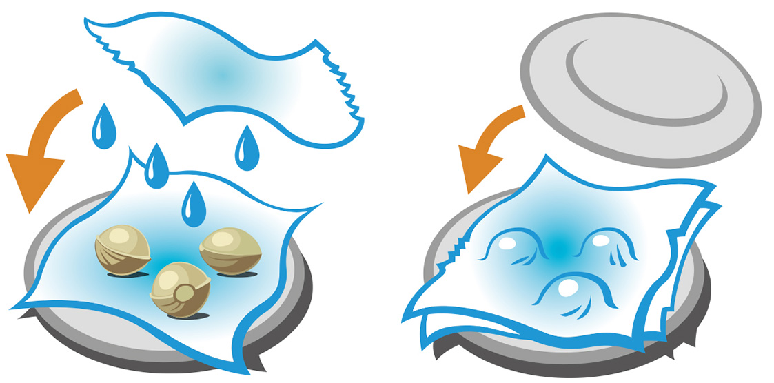 A graphic depicting the process of germinating seeds. The first part of the image shows a bottom plate lined with wet tissue with seeds placed on top. Above the seeds hovers another wet tissue which drips water. To the left of the plate an orange arrow directs the hovering tissue downward. In the second image the seeds are blanketed by the tissue and a second plate is directed downward by an orange arrow.