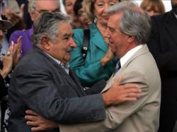 Voormalig president Mujica en de huidige president van Uruguay, Tabaré Vázquez; de twee mannen verantwoordelijk voor cannabisregulering in het land.